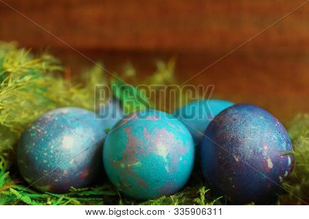 Space Galactic Blue Easter Eggs In Nest