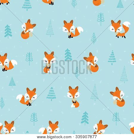 Seamless Pattern With Cute Little Foxes Sleeping, Walking, Standing Surrounded By Spruce Xmas Trees