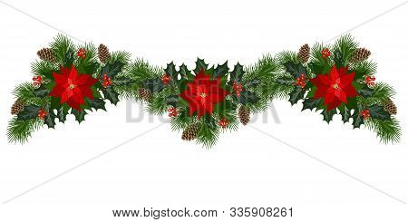 Christmas Garland Of Fir Branches, Flowers Poinsettia, Holly, Cones, Berries And Roundel. Holiday Ba