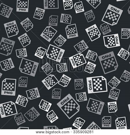 Grey Png File Document. Download Png Button Icon Isolated Seamless Pattern On Black Background. Png