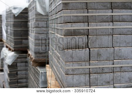 Beautiful Construction Background. Slab Of Paving Slabs.