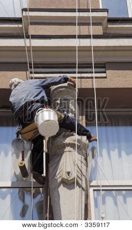 Washerman Clean The Window