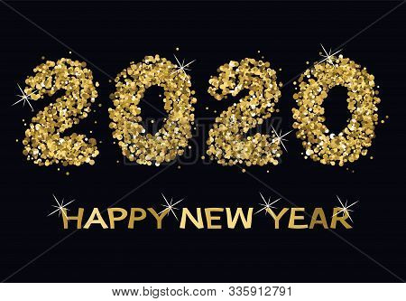 Vector Happy New Year Card With Golden Twenty Twenty Numbers And Golden Happy New Year Text With Spa