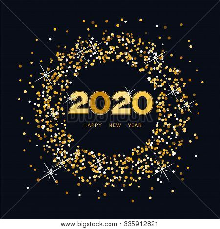 Vector Happy New Year Card With Golden Twenty Twenty Numbers And Golden Happy New Year Text With Glo