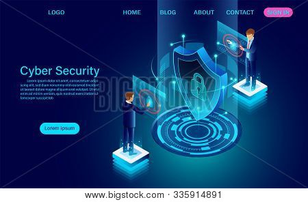 Cyber Security Concept Banner With Businessman Protect Data And Confidentiality And Data Privacy Pro