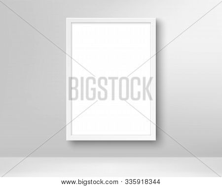 Realistic Empty Picture Frame. Poster In The Frame On The Wall. Blank White Picture Mockup Template.