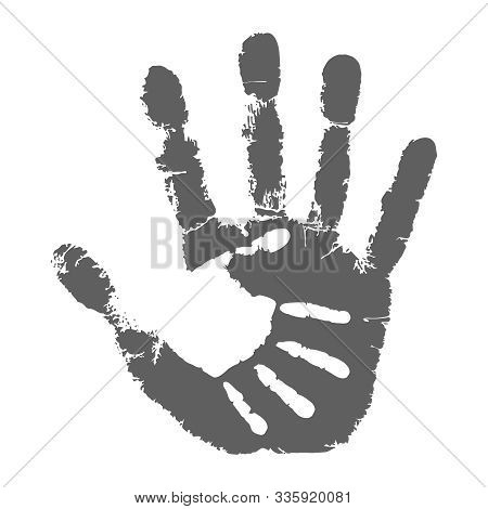 Palm Kid On The Palm Adult Man Icon. Handprints Graphic Signs Isolated On White Background. Vector I