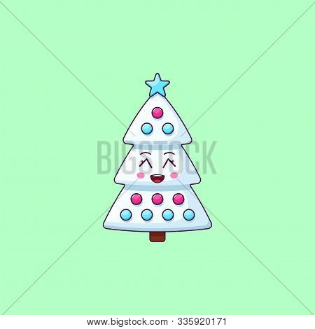 Cartoon Kawaii Christmas Tree With Grinning Face. Cute White Christmas Tree With Decorations, Childi