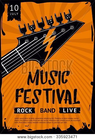 Rock And Roll Background. Indie Festival And Party Template. Hardrock Music Poster With Guitar And H