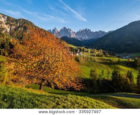 Autumn Evening Santa Magdalena Famous Italy Dolomites Village View In Front Of The Geisler Or Odle D