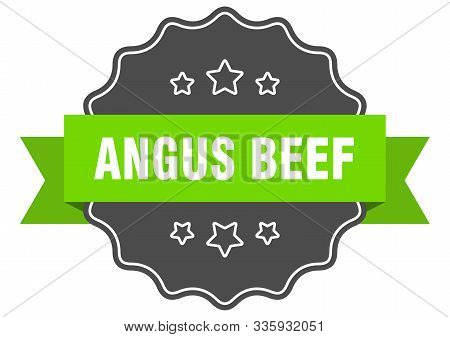Angus Beef Isolated Seal. Angus Beef Green Label. Angus Beef