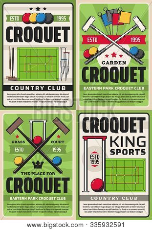Croquet Country Club And League Championship, Vector Vintage Retro Posters. Croquet Sport Club Team