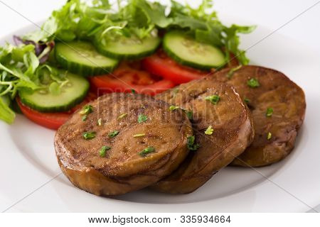 Seitan With Vegetables Isolated On White Background. Fake Meat. Close Up