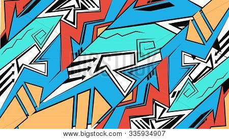 Geometric Backdrop, Graffiti Drawing Style,wallpaper, Abstract Futuristic Bright Background. Vector