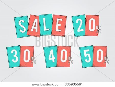 Sale Tags Promotion Percent Off 20, 30,40,50 , Set Stickers, Labels. Vector Template Elements