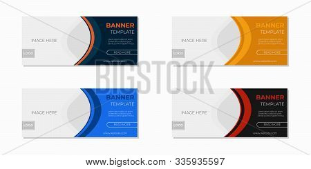 Templates Vector Horizontal Web Banners With Place For Photo, Vector Set. Minimalist Design. Univers