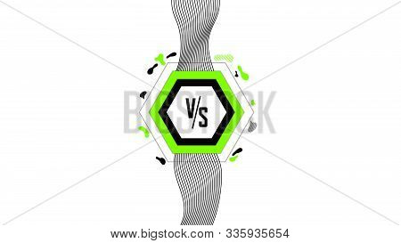 Vs Versus Screen With Trendy Geometric Flat Shapes, Modern Green And Black Colors. Minimalist Style.