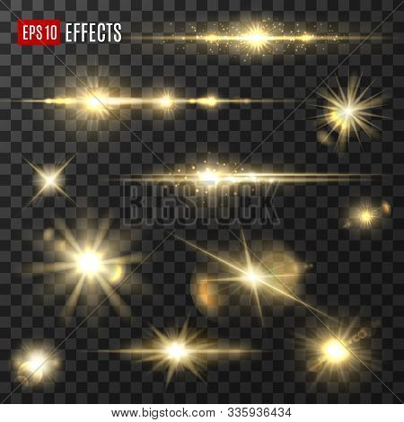 Light Shine And Golden Glitter Sparkler, Sunlight Flashes, Vector Isolated Icons. Gold Light Star Sp