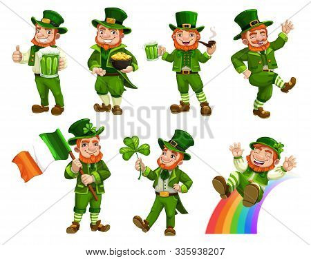 Leprechauns In Green Costumes And Hat Isolated Cartoon Characters. Vector Irish Bearded Gnome With M