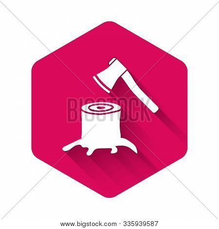 White Wooden Axe In Stump Icon Isolated With Long Shadow. Lumberjack Axe. Axe Stuck In Wood. Pink He