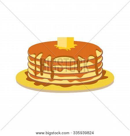 Stack Of Pancakes With Maple Syrup, Butter Slice Vector Icon. Hand Drawn Pancakes Portion On Plate C