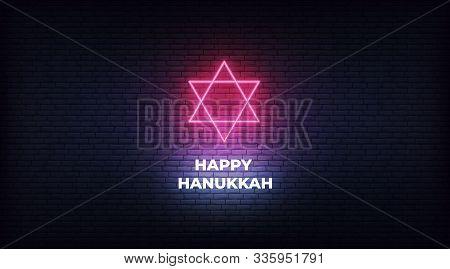 Happy Hanukkah. Red Neon Star Of David Jewish Sign Decoration For Chanukah