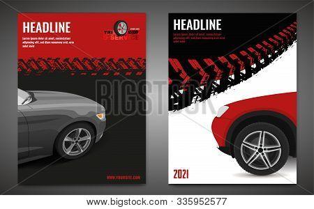 Vector Automotive Banner Template. Grunge Tire Tracks Background For Vertical Poster, Digital Banner