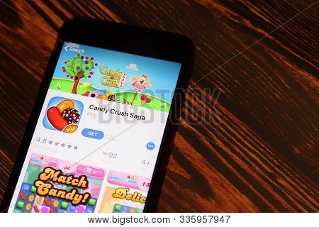 Los Angeles, California, Usa - 26 November 2019: Candy Crush Saga App Store Page Close Up On Desk To