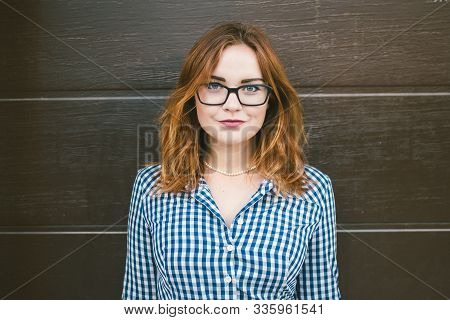 Fashion Summer Dress Woman. Female Eye Wear. Attractive Redhead Girl Wearing Dress Retro Vintage Sty