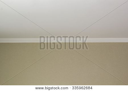 White Plinth On The Ceiling Of Drywall. Ceiling Repair Modern