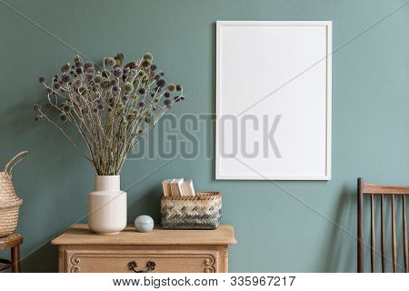 Stylish Composition Of Living Room Interior With White Mock Up Frame, Wooden Shelf, Retro Chair, Boo