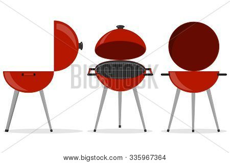 Barbecue Grill. Isometric Grill. Three-dimensional Barbecue Grill. Vector Illustration.