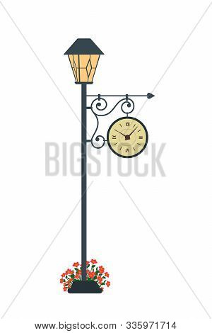 Clock. Lamppost With Clock In Cartoon Style On White Background