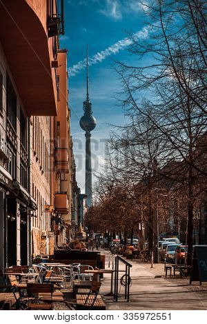 BERLIN, GERMANY-March 11, 2018: Typical Street view in Berlin, Germany. Berlin is the capital of Germany. With a population of approximately 3.5 million people.BERLIN, GERMANY