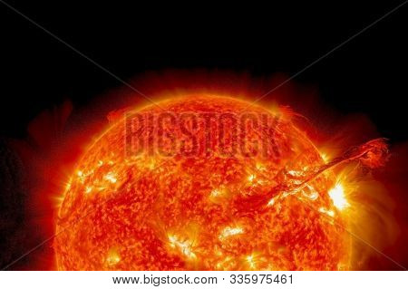 Hot Sun, Background. With The Storms. Elements Of This Image Were Furnished By Nasa.