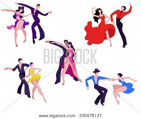A Set Of Images Of Dancing Couples On The Latin American Dance Program. Couples Dance Samba, Rumba,