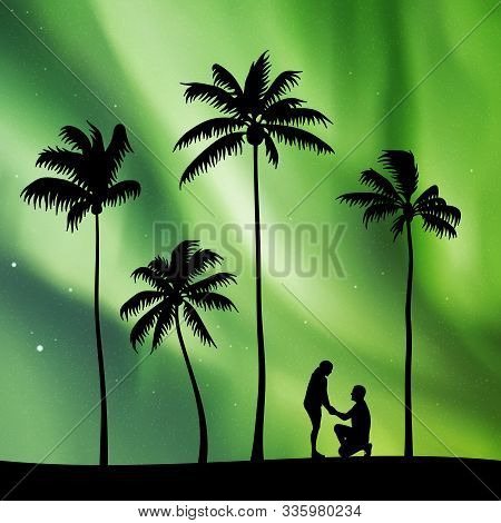 Romantic Marriage Proposal On Palm Beach At Night. Vector Illustration With Silhouettes Of Loving Co