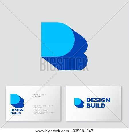 D, B Logo Concept. D Letter With Shadow Like Letter B. B Is A Shadow Of D Letter. Business Card.