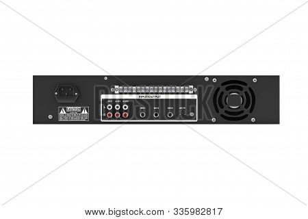 Back Side Of Hifi Stereo Mixer Amplifier On A White Background. 3d Rendering