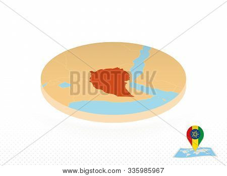 Ethiopia Map Designed In Isometric Style, Orange Circle Map Of Ethiopia For Web, Infographic And Mor