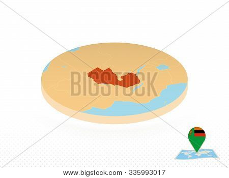 Zambia Map Designed In Isometric Style, Orange Circle Map Of Zambia For Web, Infographic And More.