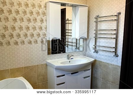 Interior Of A Bathroom In A New House. Interior Of A New House. Rooms And Doors.