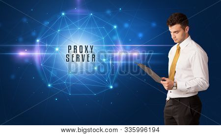 Businessman thinking about security solutions with PROXY SERVER inscription
