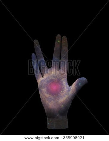 Live Long and Prosper. Stars in human palm. 3D rendering