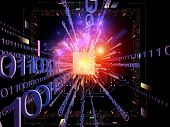 Artistic background made of CPU graphic and abstract design elements for use with projects on digital equipment computing and modern technologies poster