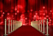 red carpet entrance with the stanchions and the ropes. red Light Burst over curtain poster