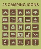 25 camping icons for maps, brochures, websites. poster