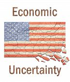 Cracked and crumbling American flag with the words Economic Uncertainty in rusted metal lettering./ Great backdrop for expressing economic points of view. poster