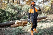 Full length portrait of a professional lumberman in protective workwear with a chainsaw and wooden logs during the work on logging in the pine forest poster