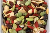 closeup organic mixed nuts and dry fruits poster